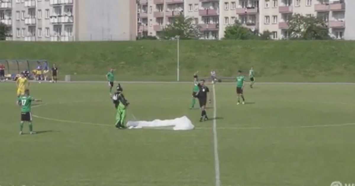 skydiver in football match